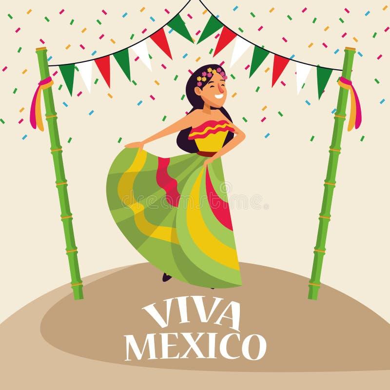 Viva墨西哥动画片 向量例证