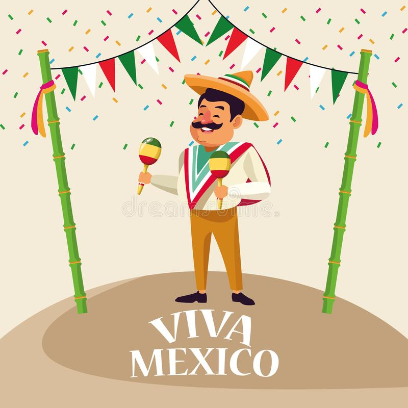 Viva墨西哥动画片 皇族释放例证