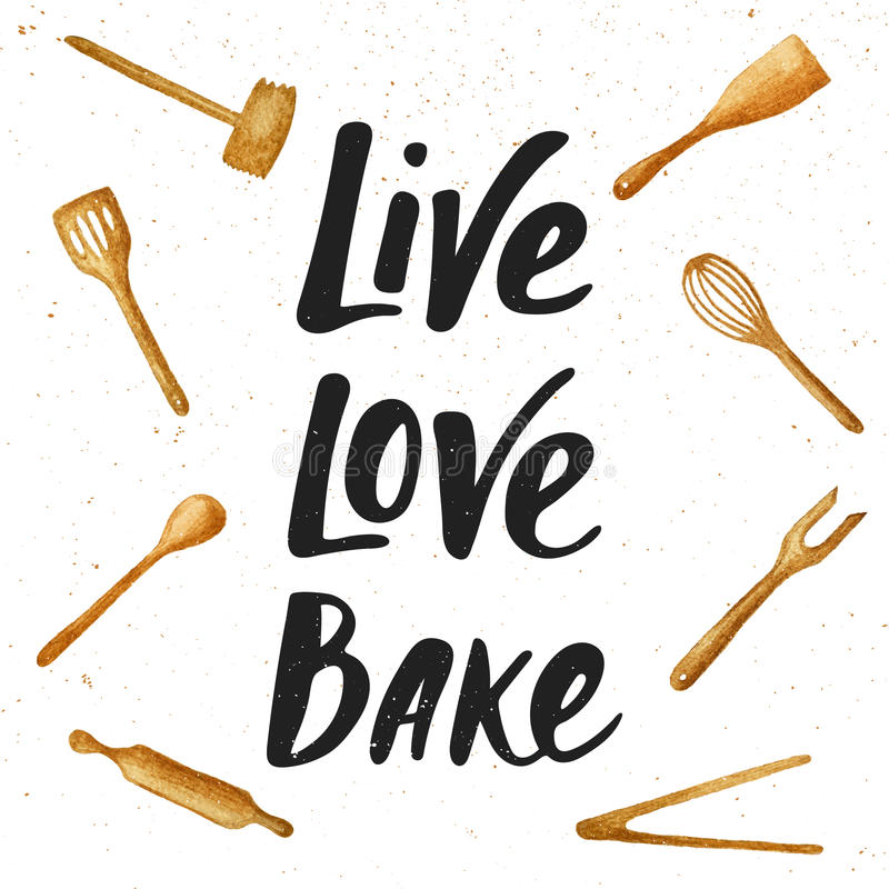 Viva, ami, cuocia con gli strumenti della cucina, iscrizione scritta a mano royalty illustrazione gratis