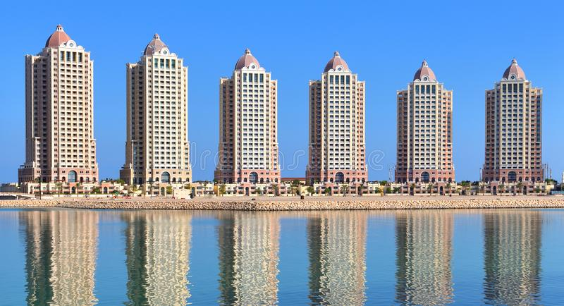 Viva Bahria - administrative district with elite housing area on Pearl Island in Doha, Qatar. Viva Bahria - elite housing area on a Pearl Island in Doha, Qatar stock photography
