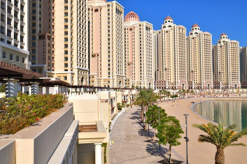 Viva Bahrya - administrative district with elite housing area on Pearl Island in Doha, Qatar. Viva Bahrya - elite housing area on a Pearl Island in Doha, Qatar royalty free stock photo