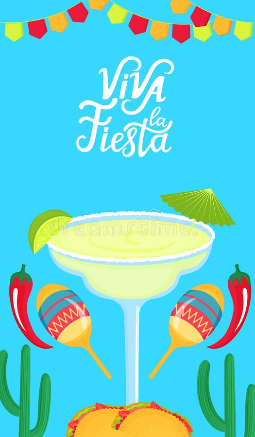 Viva la Fiesta hand drawn lettering. Festive mexican banner. Margarita with lime, maracas, cactus and chili pepper.  stock illustration