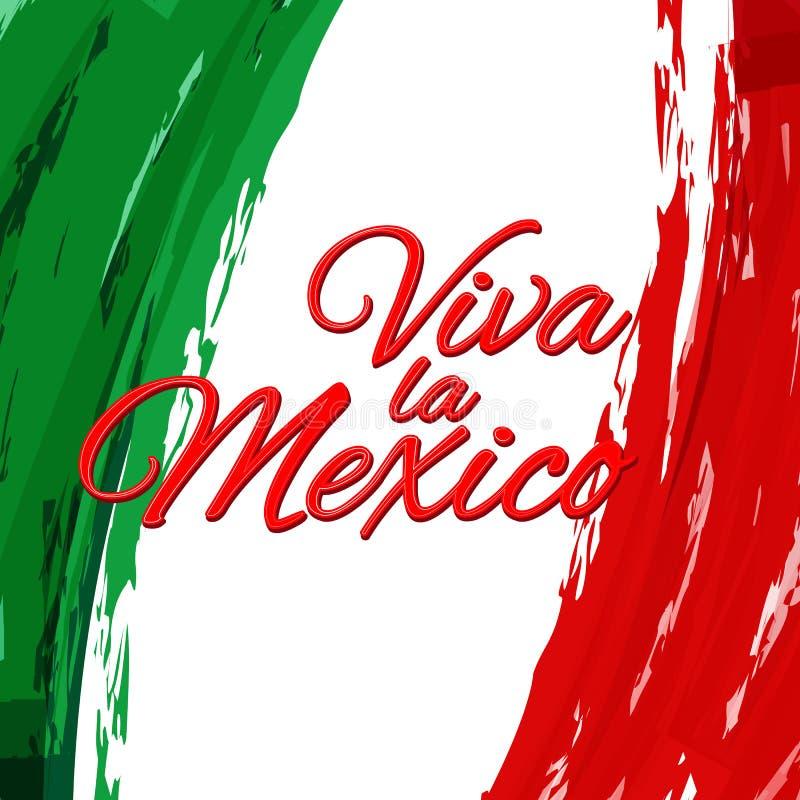 Viva la Mexico na perspectiva do fundo brilhante do estilo da aquarela de México da bandeira nacional no Dia da Independência de  ilustração do vetor