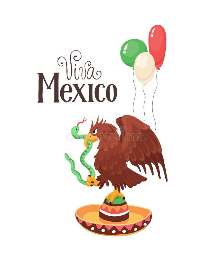 Viva México com águia ilustração stock