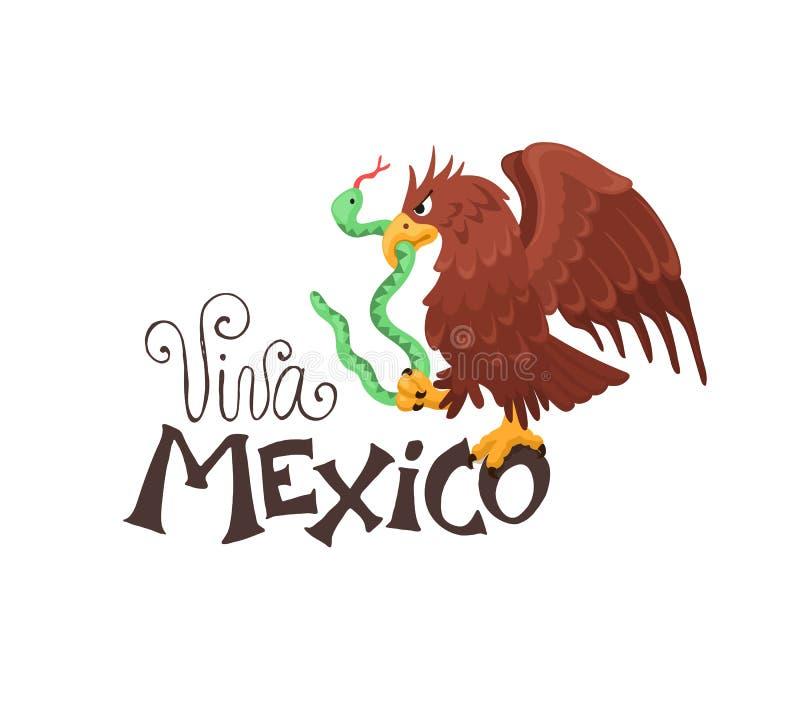 Viva México com águia ilustração do vetor
