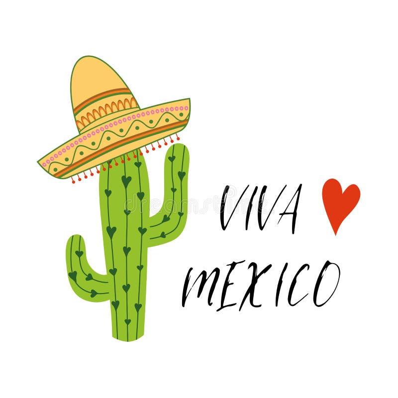 Viva Meksyk kolorowy świąteczny tło z kaktusem, sombrero Jaskrawy wektoru znak, druk, logo, etykietka ilustracja wektor