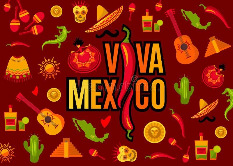 Viva Meksyk literowanie i ikona set ilustracji