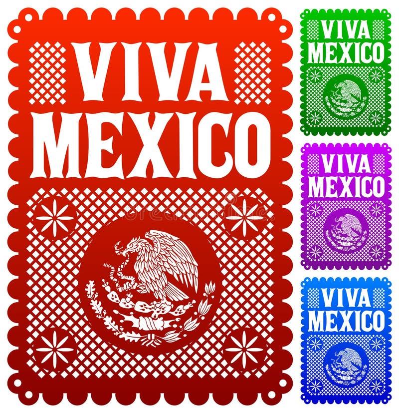 Viva Meksyk - meksykańska wakacyjna wektorowa dekoracja ilustracja wektor