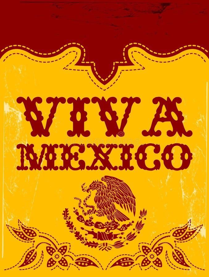 Viva Meksyk - meksykański wakacyjny wektorowy plakat royalty ilustracja