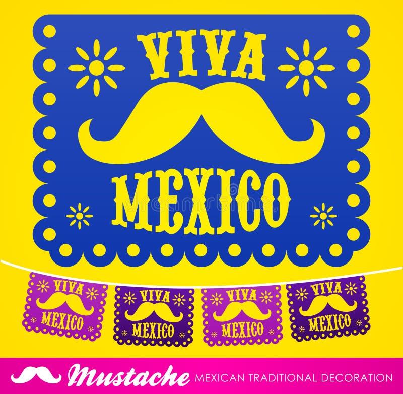 Viva Meksyk, meksykańskiego wąsy wakacyjna wektorowa dekoracja royalty ilustracja