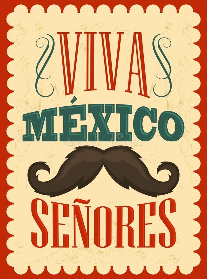 Viva Meksyk Senores, Viva Meksyk dżentelmenów hiszpański tekst - ilustracja wektor