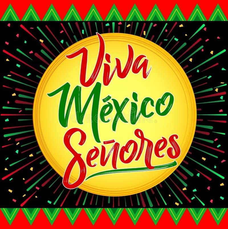 Viva Meksyk Senores, Viva Meksyk dżentelmeny hiszpański tekst -, meksykański wakacje ilustracja wektor