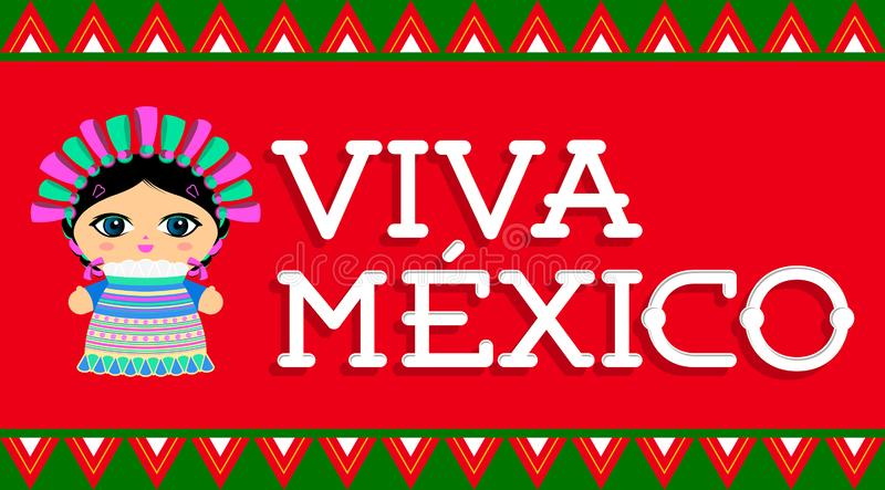 Viva Meksyk, tradycyjny Meksykański zwrot i lala wektor, ilustracja