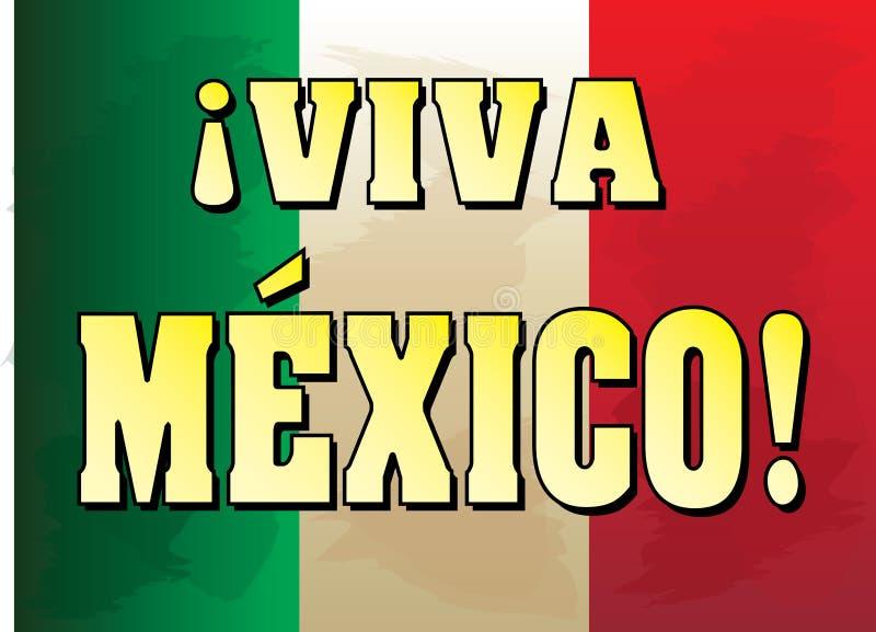 Viva Mexico ! Bannière avec le fond de drapeau mexicain illustration libre de droits