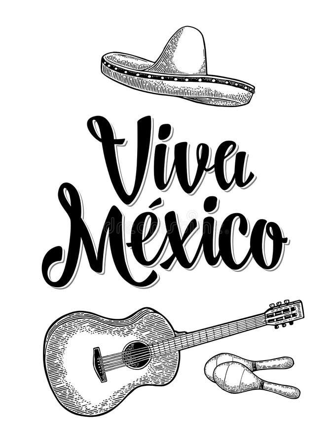Viva Mexico bokstäver och gitarr, maracas och sombrero Tappninggravyr vektor illustrationer
