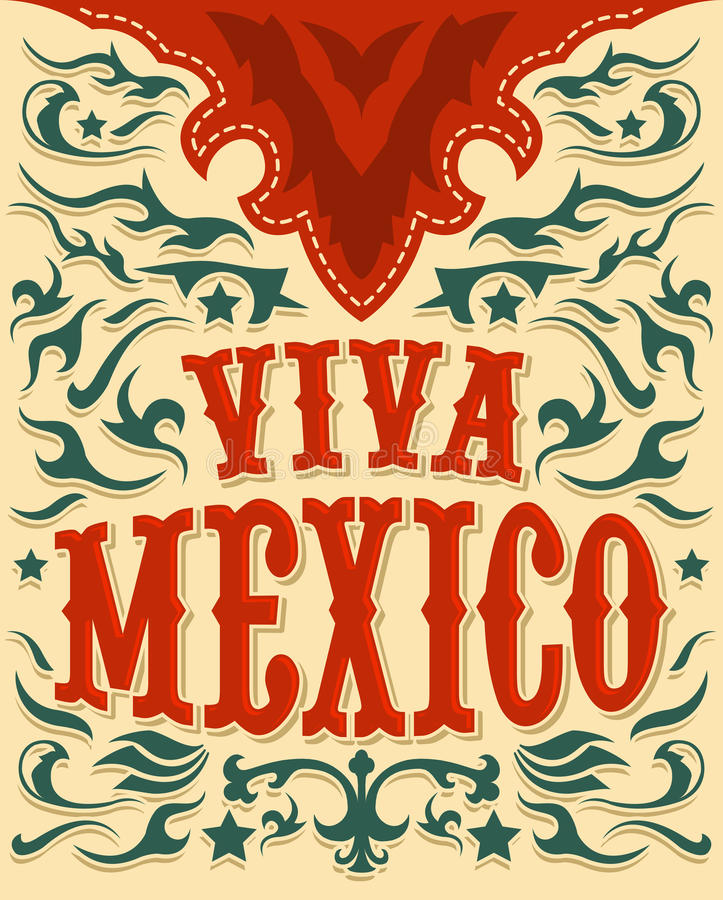 Viva Mexico - cartaz mexicano do feriado - estilo ocidental ilustração stock