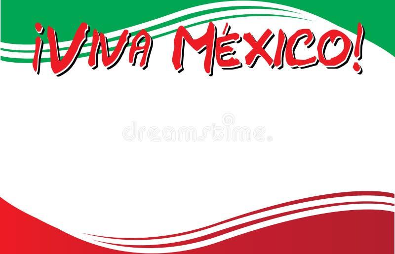 Viva Mexico ! Carte postale avec le fond de drapeau mexicain illustration libre de droits