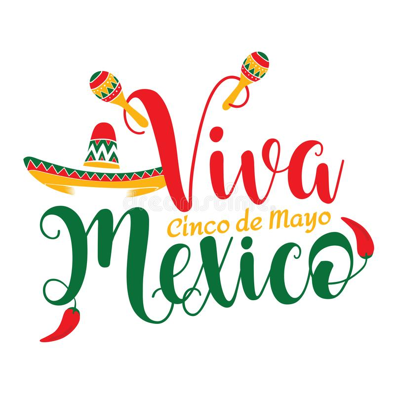 Viva Mexico Cinco de Mayo-illustratie vector illustratie
