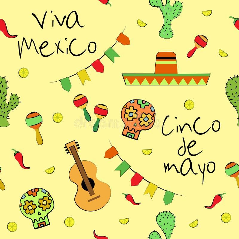Viva Mexico Cinco de Mayo sömlös modell vektor illustrationer