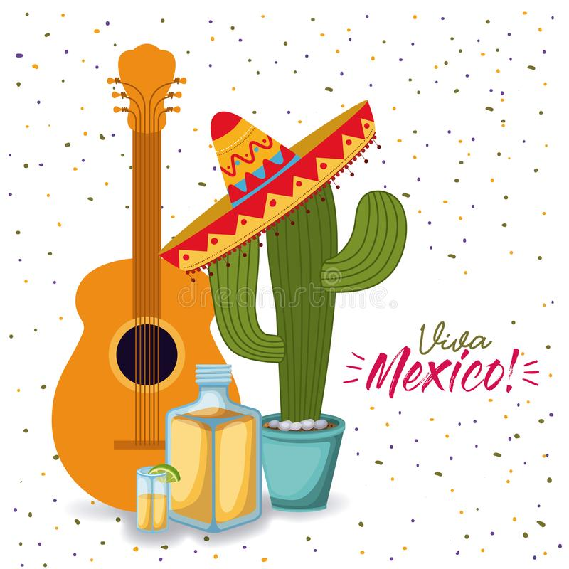 Viva mexico colorful poster with guitar tequila and cactus plant with mexican hat. Vector illustration stock illustration