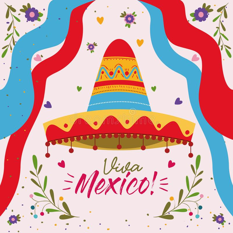 Viva mexico colorful poster with mexican hat and decorative ribbons. Vector illustration vector illustration
