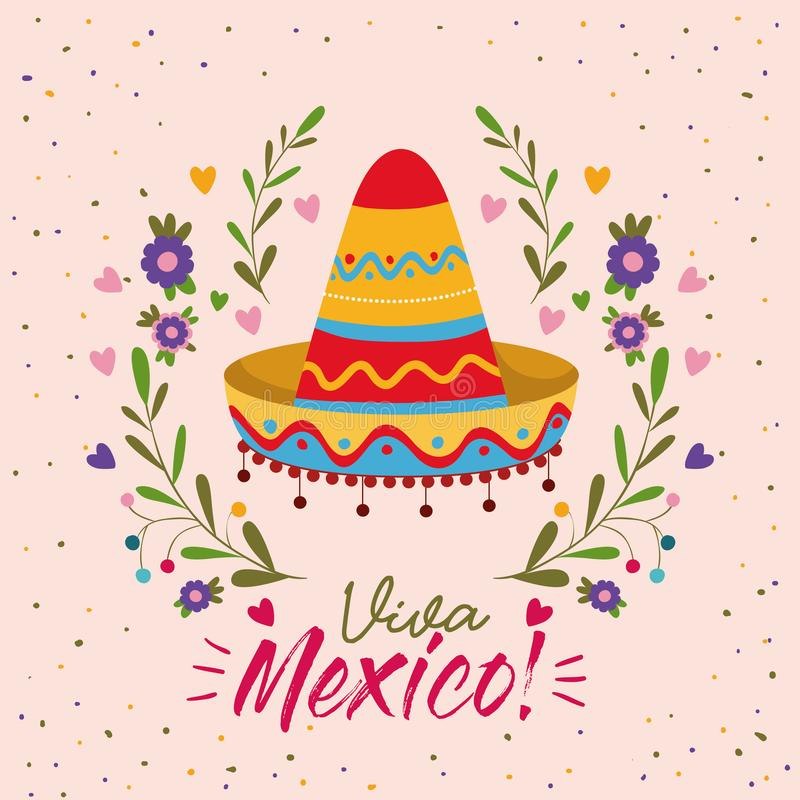 Viva mexico colorful poster with mexican hat. Vector illustration royalty free illustration