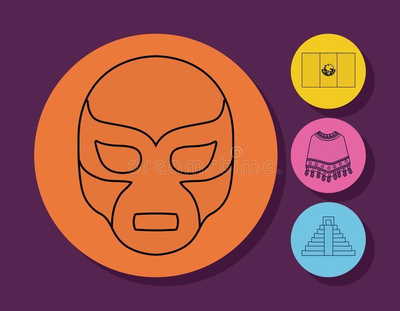 Viva mexico design. Mexican Wrestler Mask icon and mexican culture related icons over colorful circles and purple background, vector illustration royalty free illustration