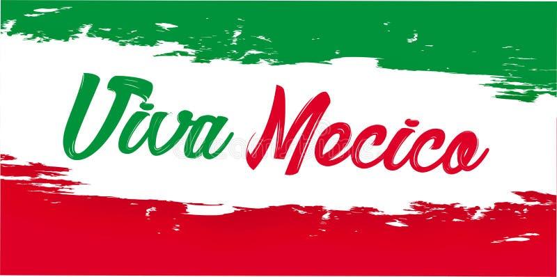 Viva Mexico, feriado mexicano tradicional da frase ilustração do vetor