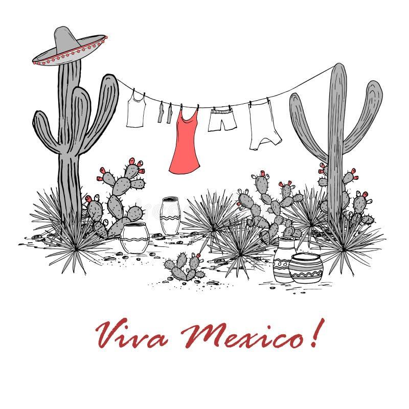 Viva Mexico-kaart stock illustratie