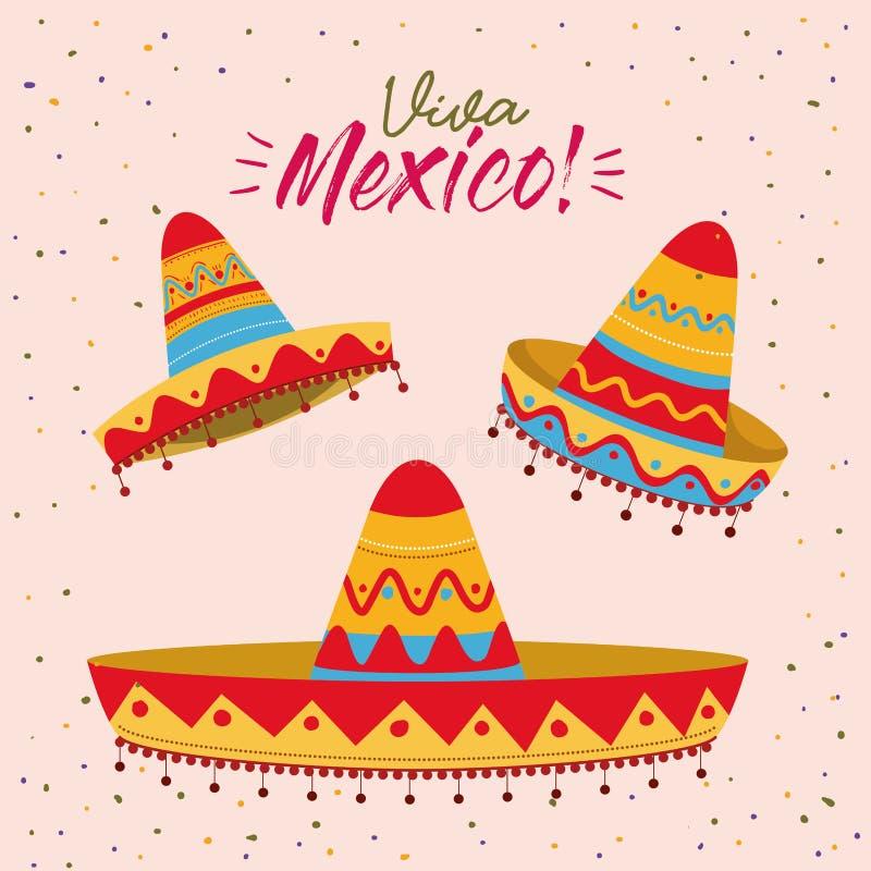 Viva Mexico kolorowy plakat z setem meksykańscy kapelusze ilustracja wektor