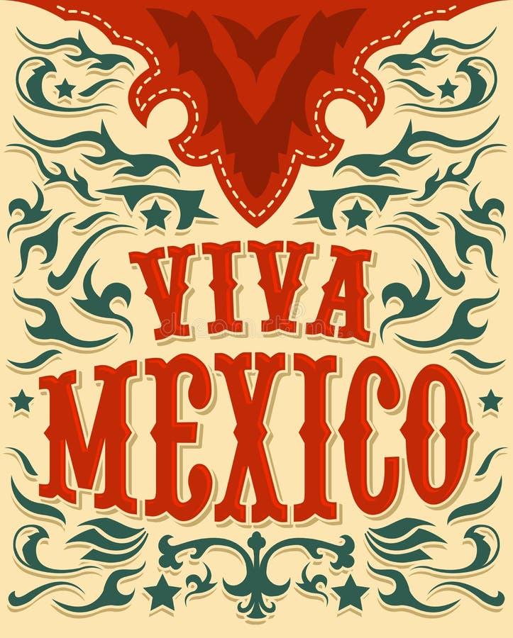 Viva Mexico - manifesto messicano di festa - stile occidentale illustrazione di stock