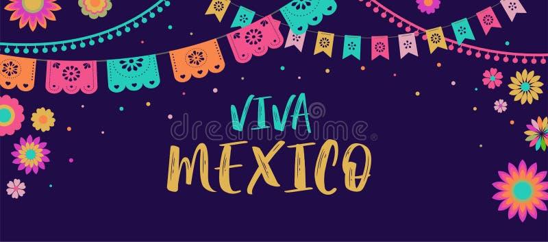 Viva Mexico - Mexicaans van de Fiestabanner en affiche ontwerp met vlaggen, bloemen, decoratie vector illustratie