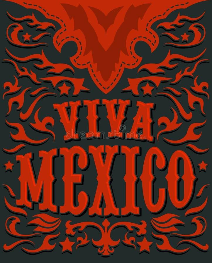 Viva Mexico - Mexicaanse vakantieaffiche - westelijke stijl stock illustratie