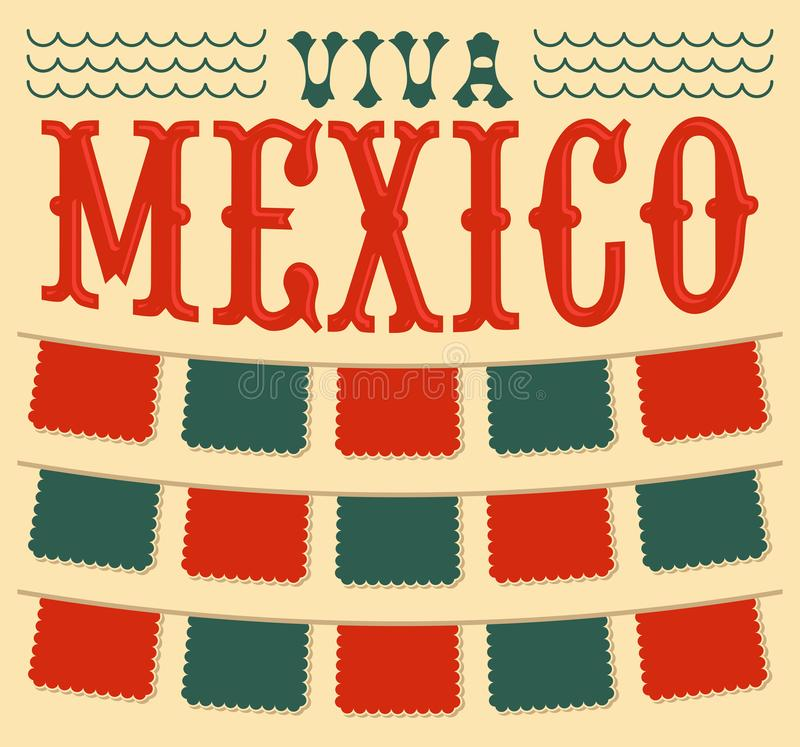 Viva Mexico, Mexican holiday Header and elements vector decoration. Eps available vector illustration
