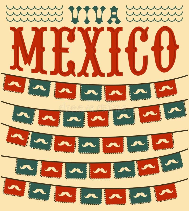 Viva Mexico - mexican mustache holiday stock illustration