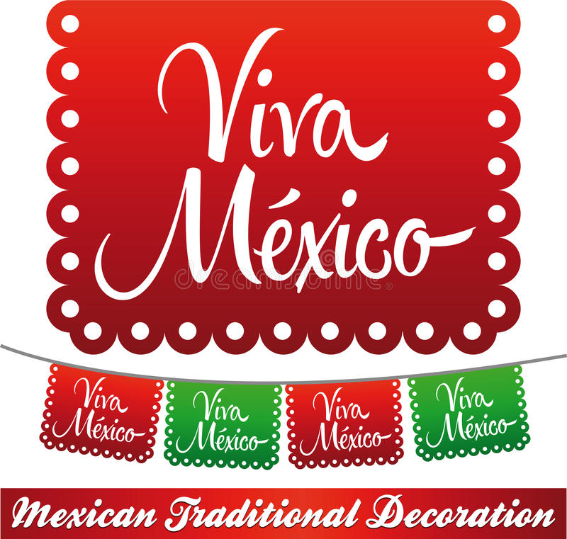 Viva Mexico - mexikansk ferievektorgarnering royaltyfri illustrationer
