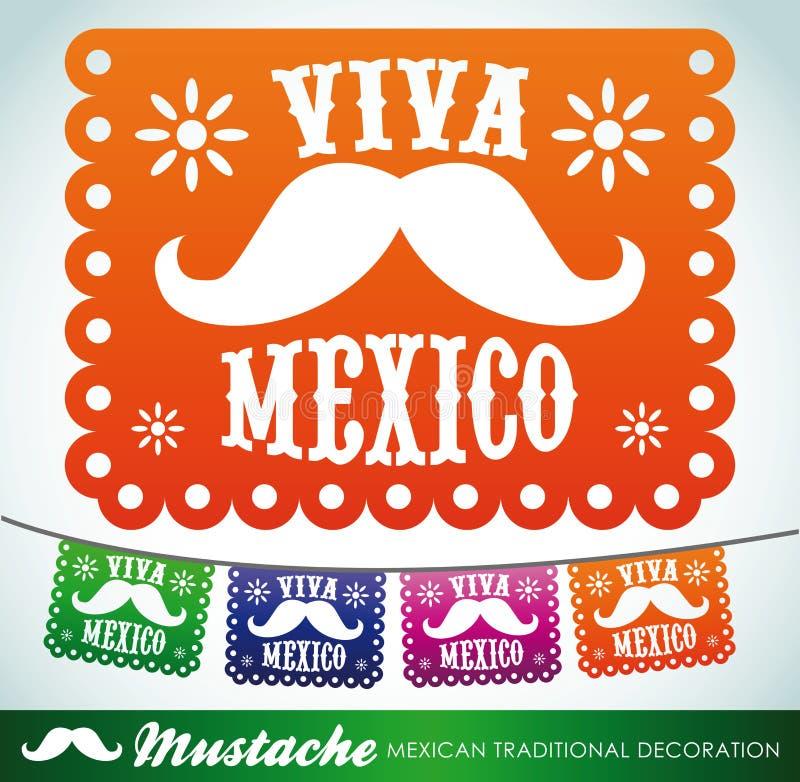 Viva Mexico - mexikansk mustaschferie stock illustrationer