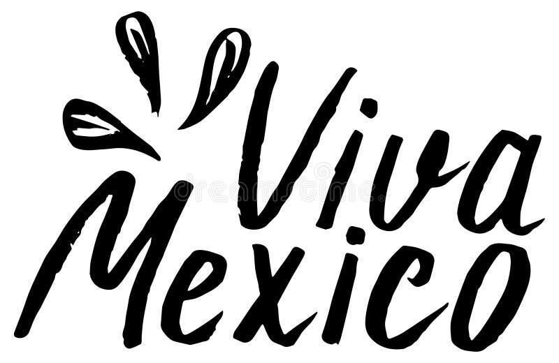 Viva Mexico, poniendo letras al ejemplo del vector, mexicano tradicional ilustración del vector