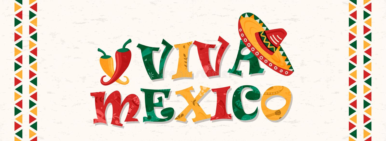 Viva Mexico quote banner for mexican celebration. Viva mexico typography quote with traditional mexican mariachi hat and chili peppers. Web banner illustration vector illustration
