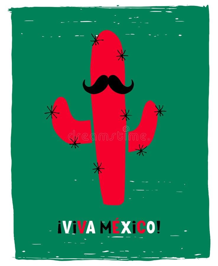 Viva Mexico tirada m?o - Live Mexico Vetora Poster longo Cacto engraçado vermelho com bigode preto em um fundo verde do Grunge ilustração stock