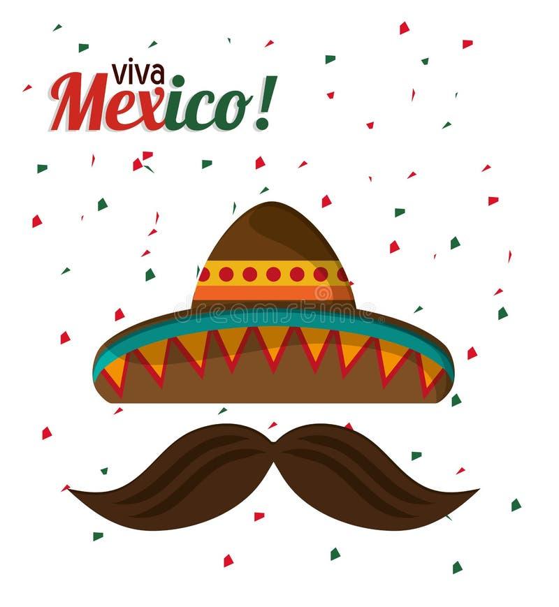 Viva Mexico tradyci kapeluszowy wąsy z confetti royalty ilustracja