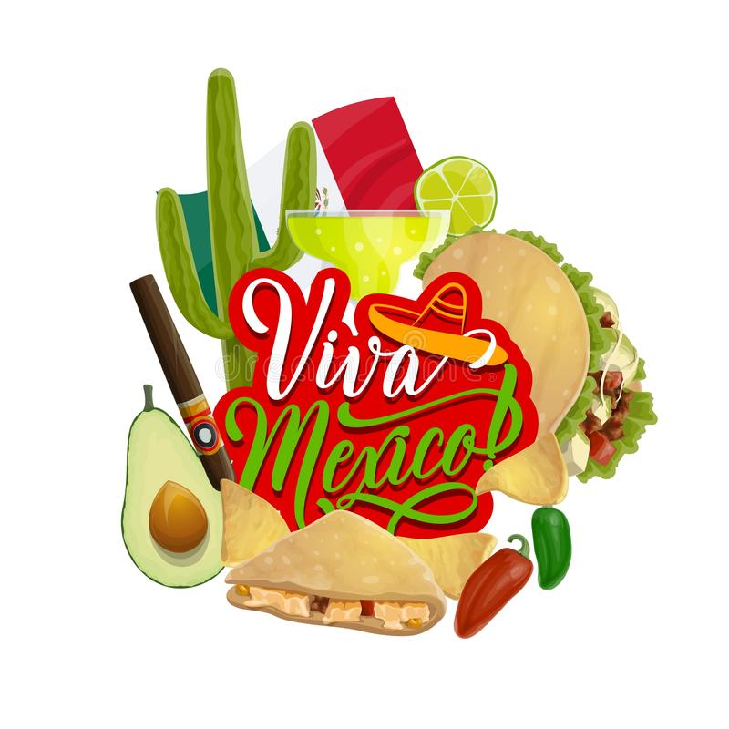 Mexican holiday tequila, cactus and chilli pepper. Viva Mexico vector greeting card of Cinco de Mayo holiday celebration. Cactus, tequila margarita and flag of vector illustration