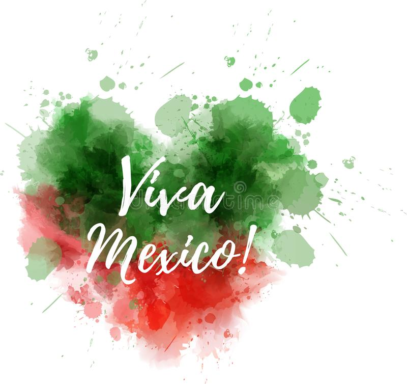 Viva Mexico-waterverfhart stock illustratie