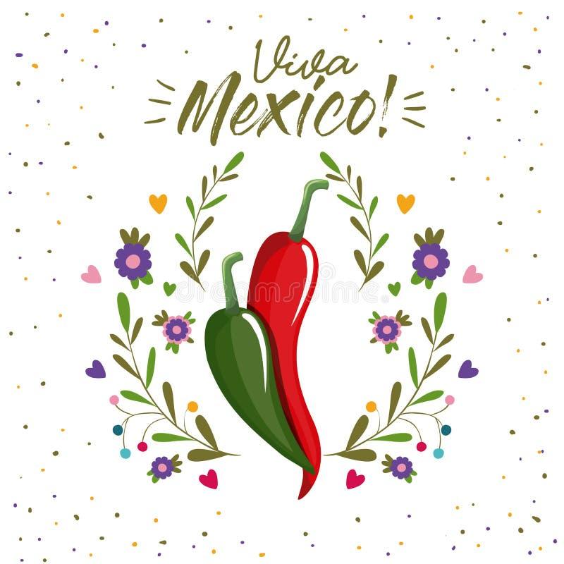 Viva Mexiko färgrik affisch med chilipeppar stock illustrationer