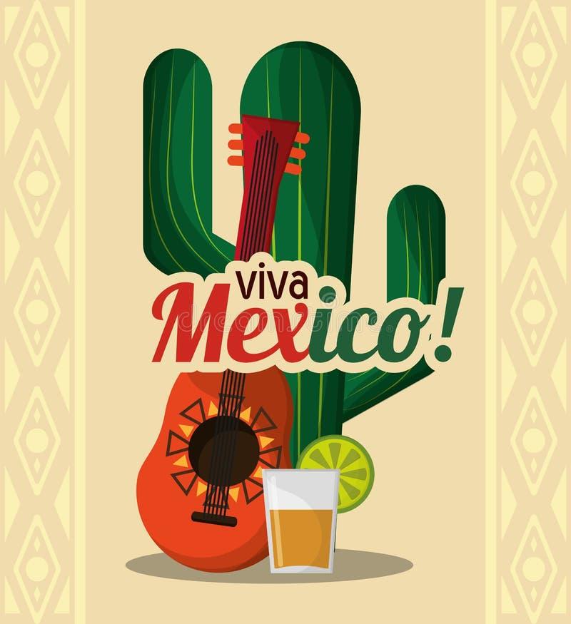 Viva Mexiko - kaktusgitarr- och drinktequila vektor illustrationer