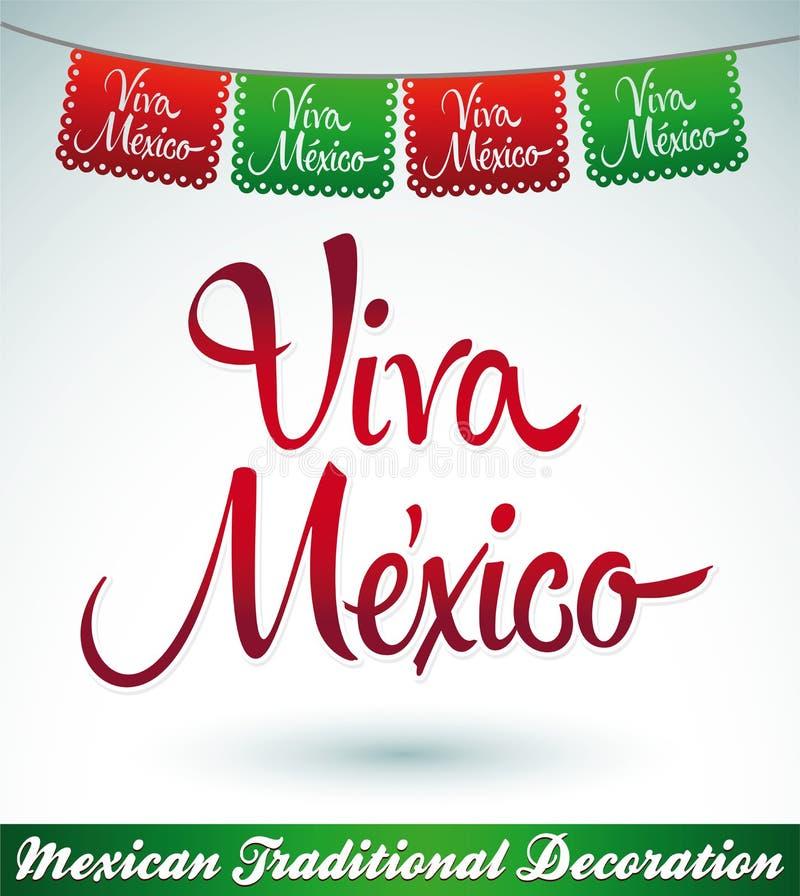 Viva Mexiko - mexikanische Feiertagsvektordekoration lizenzfreie abbildung