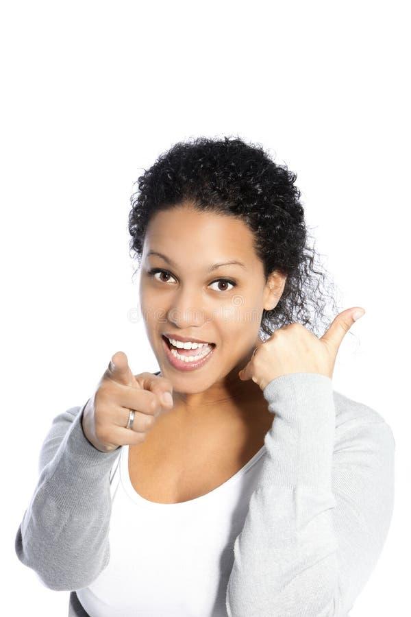 Vivacious женщина указывая на камеру стоковое фото rf