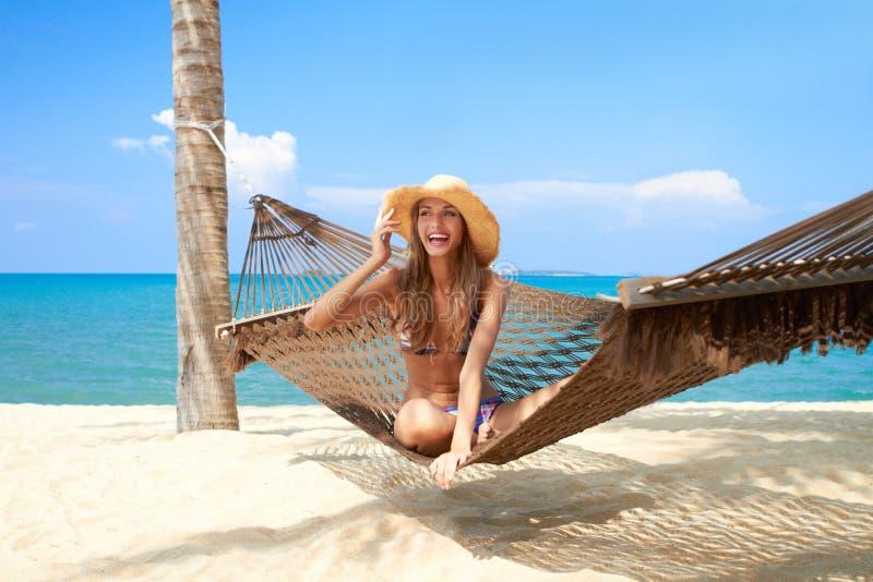 Download Vivacious Beautiful Woman In Hammock Stock Image - Image: 24497539