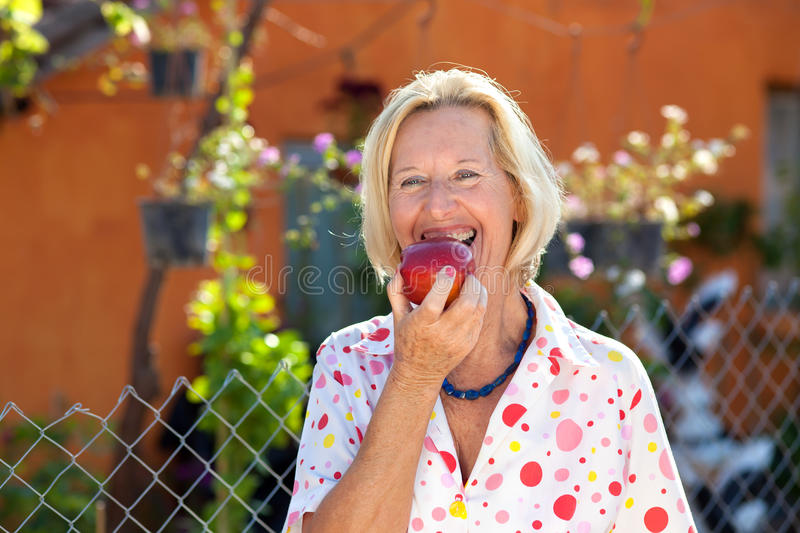 Vivacious senior woman enjoying a red apple stock image