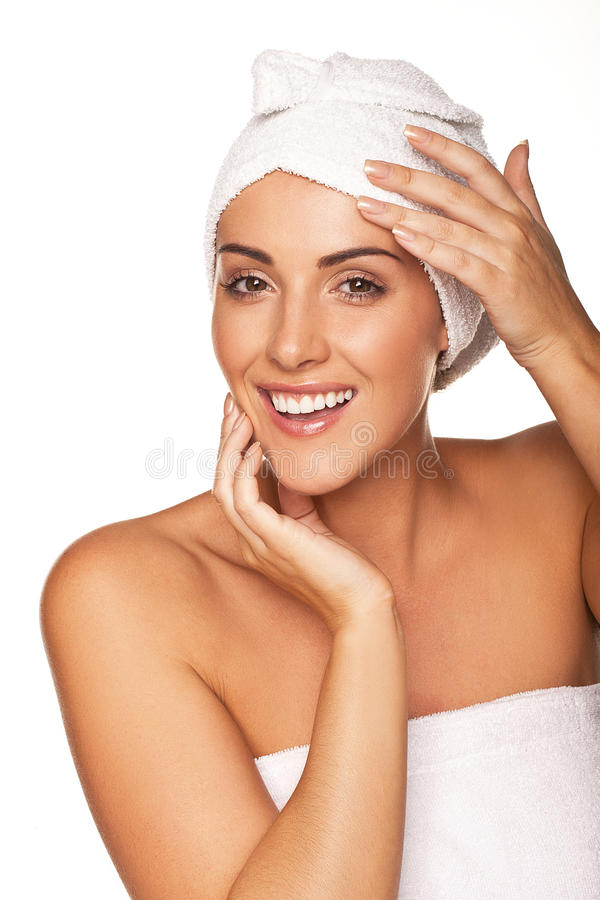 Download Vivacious Woman Wrapped In A White Towel Stock Image - Image: 27557117